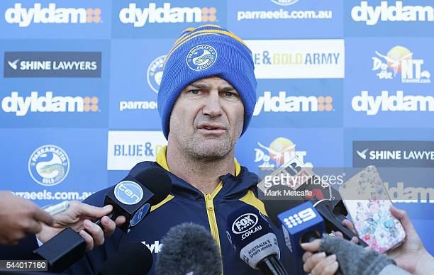Parramatta Eels NRL coach Brad Arthur speaks to the media during a press conference at the Eels Training Centre on July 1 2016 in Sydney Australia