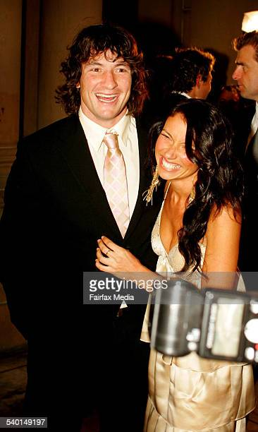 Parramatta Eels player Nathan Hindmarsh and partner Bonny Scott arrive on the red carpet at the 2006 National Rugby League Dally M Awards at Sydney's...