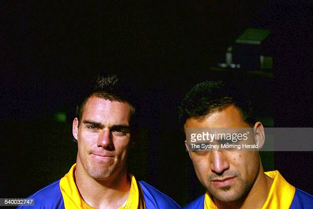 Parramatta Eels players Jeremy Smith right and John Morris at Parramatta Stadium 2 August 2006 SMH SPORT Picture by STEVE CHRISTO