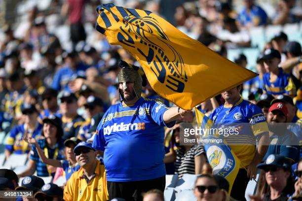 Parramatta fan waves his flag during the round seven NRL match between the Parramatta Eels and the Manly Sea Eagles at ANZ Stadium on April 22 2018...