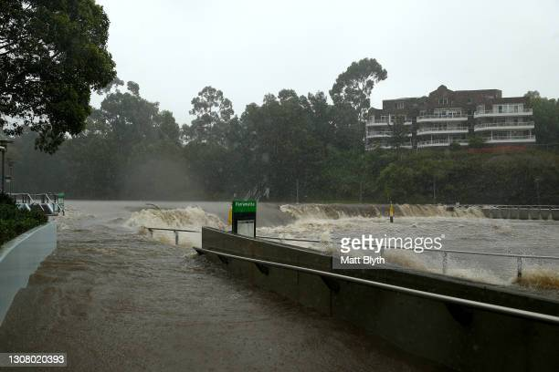 Parramatta ferry wharf overflows and floods due to continuous and heavy rain on March 20, 2021 in Sydney, Australia. Heavy rain and flooding has...