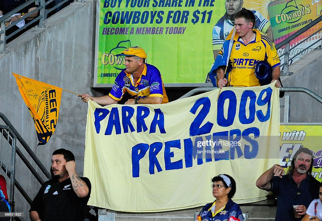 Parramatta supporters hold up a sign during the round seven NRL match between the North Queensland Cowboys and the Parramatta Eels at Dairy Farmers Stadium on April 23, 2010 in Townsville, Australia.