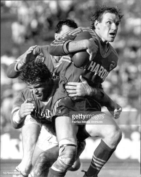 Parramatta v Canberra at BelmoreParramatta's Peter Wynn looks worried as Canberra lock Ashley Gilbert stops his gallop at Belmore yesterday April 14...