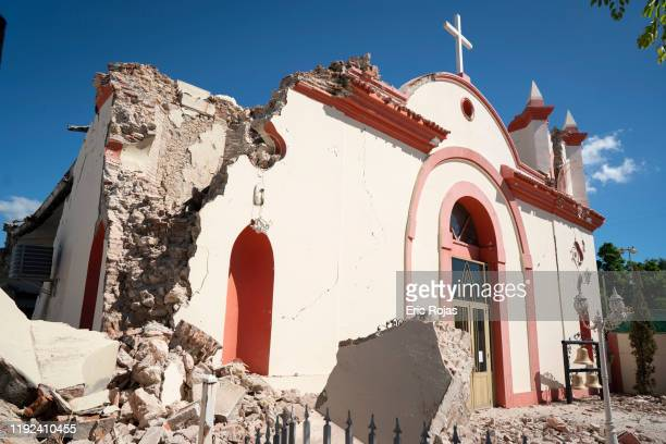 Parroquia Inmaculada Concepción church was heavily damaged after a 6.4 earthquake hit just south of the island on January 7, 2020 in Guayanilla,...