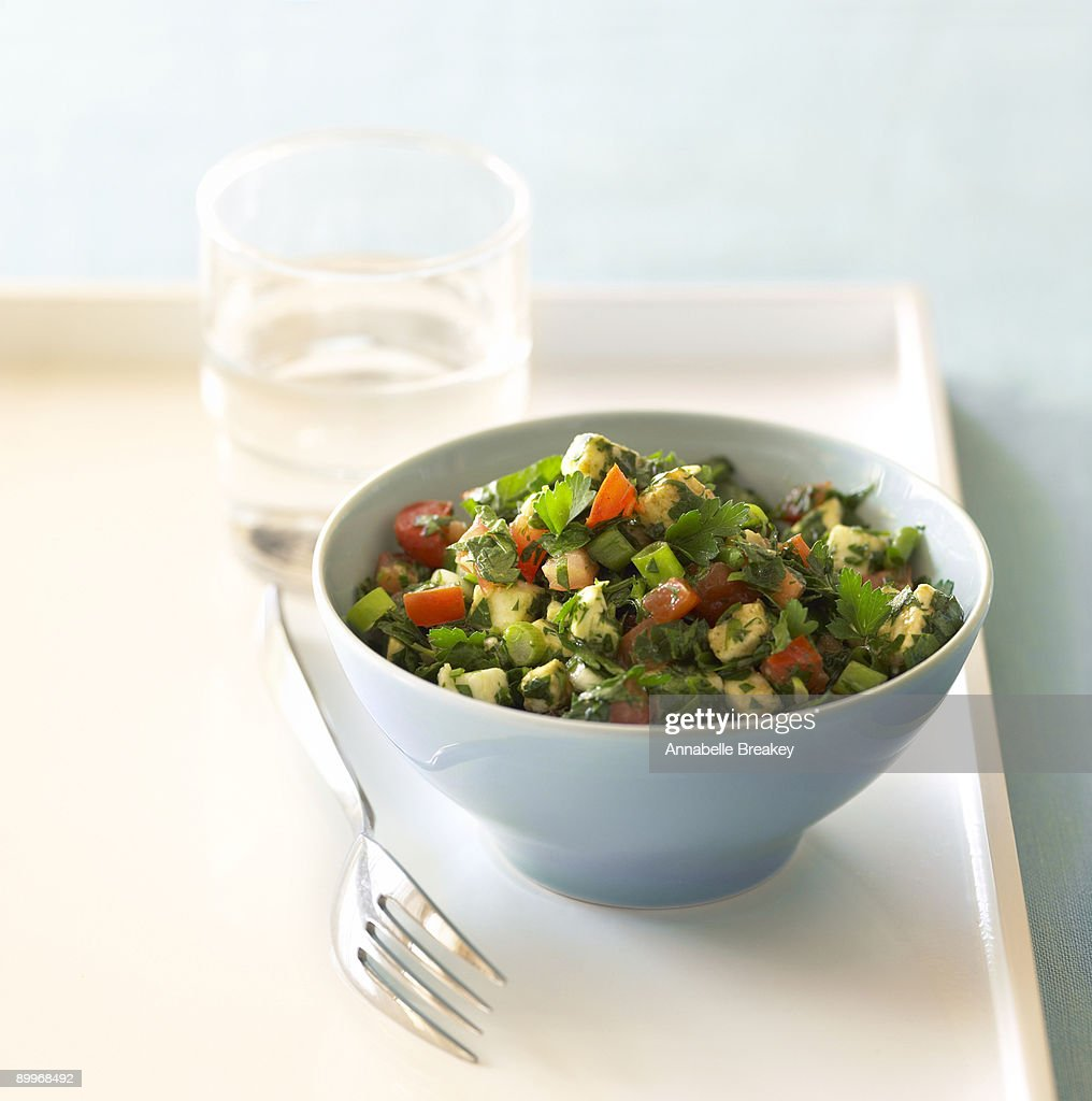 Parsley and mozzarella salad : Stock Photo