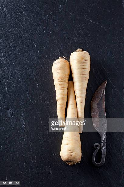 Parsnips with old knife