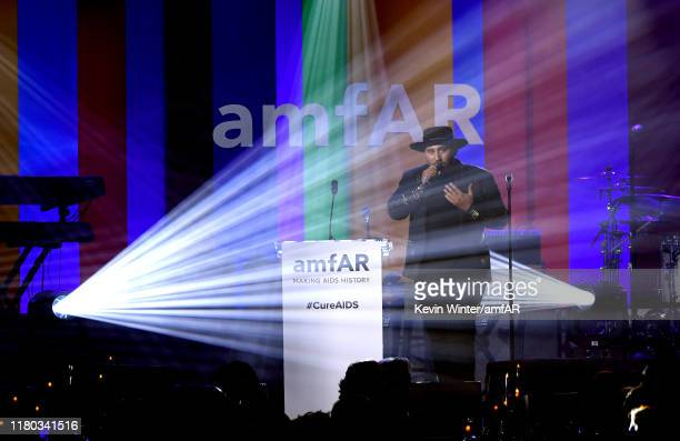 Parson James performs onstage during the 2019 amfAR Gala Los Angeles at Milk Studios on October 10, 2019 in Los Angeles, California.