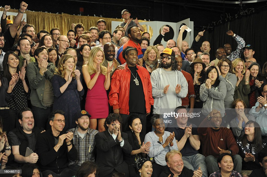 30 ROCK -- 'Part 1: Hogcock! Part 2: Last Lunch' Episode 712/713 -- Pictured: (l-r) Sue Galloway as Sue, John Lutz as Lutz, Katrina Bowden as Cerie, Kevin Brown as Dotcom, Tracy Morgan as Tracy Jordan, Grizz Chapman as Grizz, Judah Friedlander as Frank, Keith Powell as Toofer --