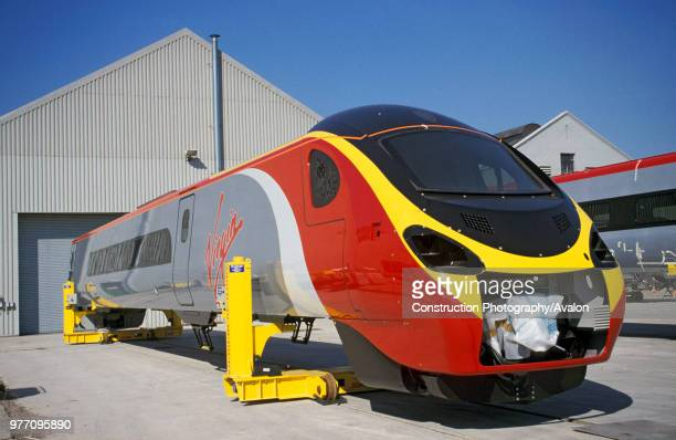 Part assembled Pendolino bodies stand outside the Alstom works at Washwood Heath in Birmingham C2001