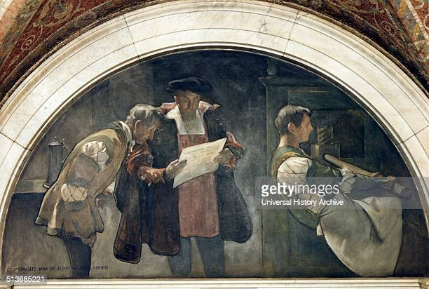 Part five of a sixpart mural It Depicts a man working at a printing press and Gutenberg and another man examining proof Between 1890 and 1900
