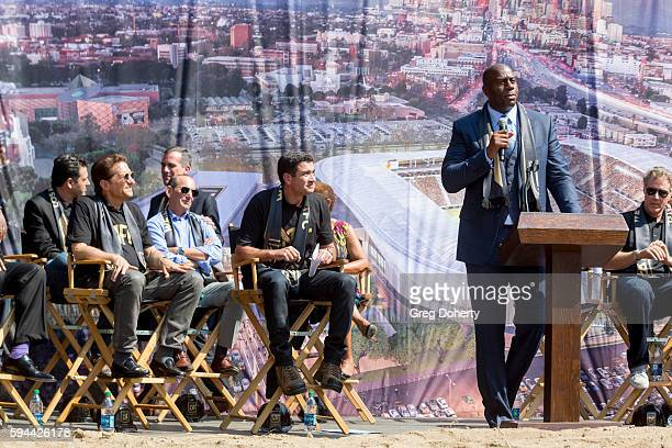 """Part LAFC owner Earvin """"Magic"""" Johnson attends the Los Angeles Football Club Stadium Groundbreaking Ceremony on August 23, 2016 in Los Angeles,..."""