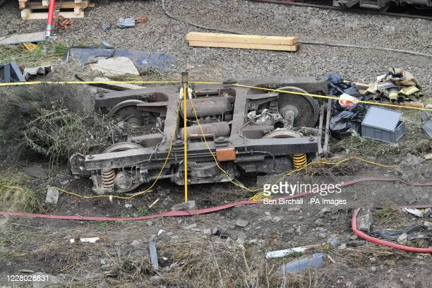 Part of a carriage at the scene near Stonehaven, Aberdeenshire, following the derailment of the ScotRail train which cost the lives of three people.