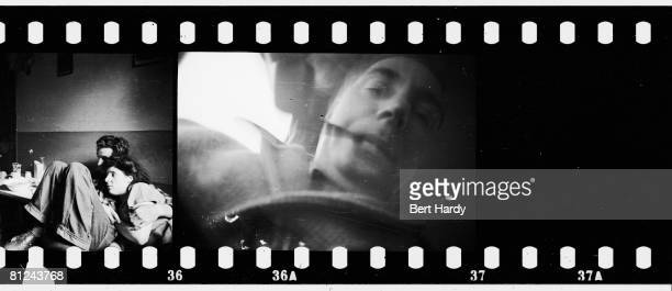 Part of a contact sheet depicting a couple in a basement in the Elephant and Castle South London along with a selfportrait of photographer Bert Hardy...