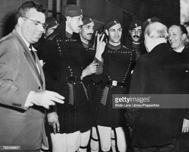 Part of a delegation from Greece visiting Winston Churchill at the home of his friend financier and political consultant Bernard Baruch in New York...