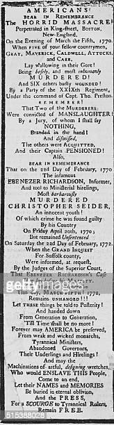 Part of a handbill in the Library of Massachusetts describing the Boston Massacre