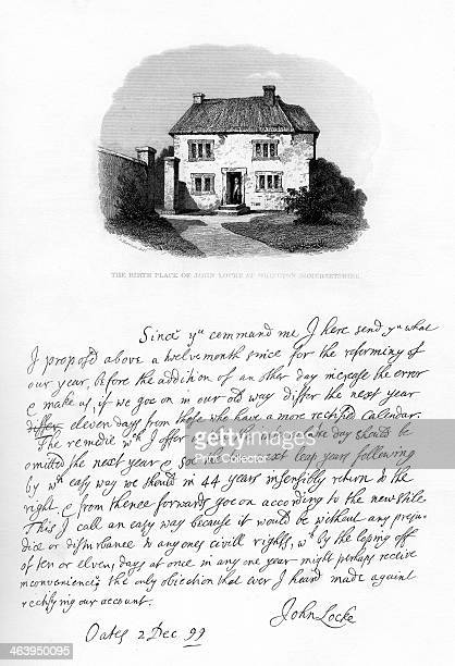 Part of a letter from John Locke to Sir Hans Sloane late 17thearly 18th century View of the birthplace of John Locke at Wrington Somerset A letter...
