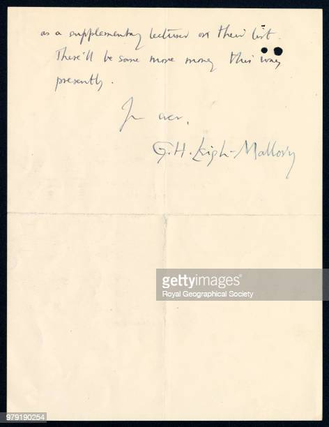 Part of a letter to Hinks from George Mallory 08 November 1922 Mount Everest Expedition 1922