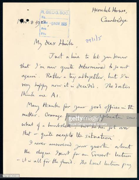 Part of a letter to Hinks from George Mallory This letter was written from George Leigh Mallory to AL Hinks Secretary of the Society between 19151945...
