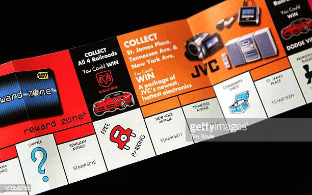Part of a McDonald's Monopoly game board is seen October 5 2005 in Des Plaines Illinois McDonald's partnered with Best Buy has started what it claims...