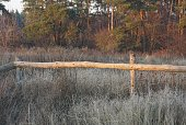 part rural fence made brown wooden