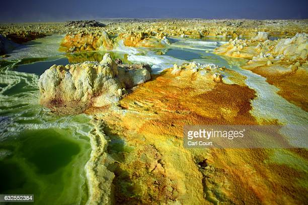 Part of a sulphur lake is pictured in the Danakil Depression on January 23, 2017 near Dallol, Ethiopia. The depression lies 100 metres below sea...