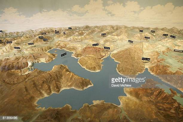 Part of a threedimensional topographic map inside the visitors center of the Hoover Dam shows Lake Mead and surrounding communities on September 24...