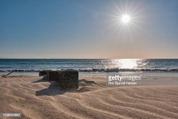 part of a wooden europallet washed up at the beach, halway buriet in the strong wind - finn bjurvoll stock pictures, royalty-free photos & images