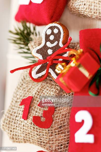 part of advent calendar with little bags - advent calendar stock photos and pictures