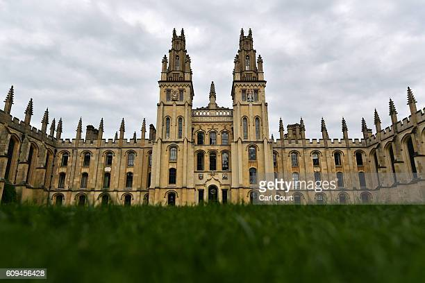 Part of All Souls College founded in 1438 is pictured on September 20 2016 in Oxford England Oxford University has taken number one position in the...