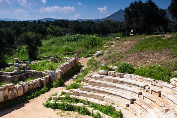 Part of amphitheater in ancient city of Aptera, Crete, Greece