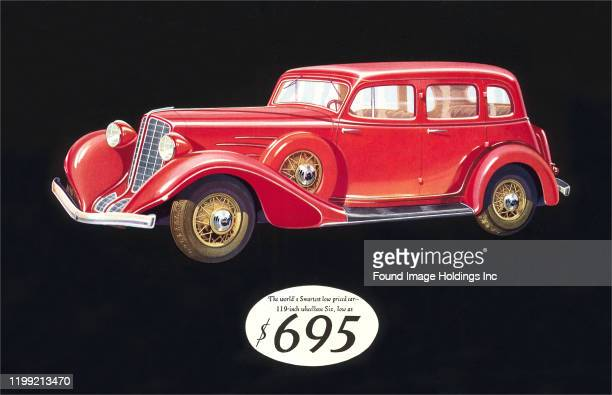 Part of an advertisement for a 1934 Auburn sedan
