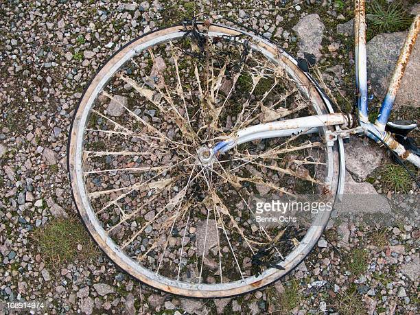 Part of an old bicycle lying on the ground