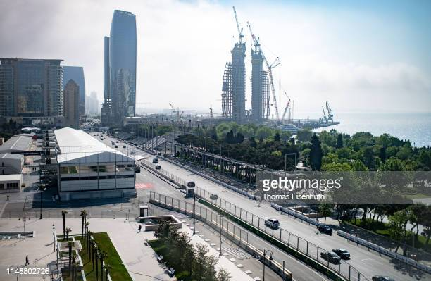 Part of Baku's Formula 1 grand prix near to the starting line is seen on May 13, 2019 in Baku, Azerbaijan.