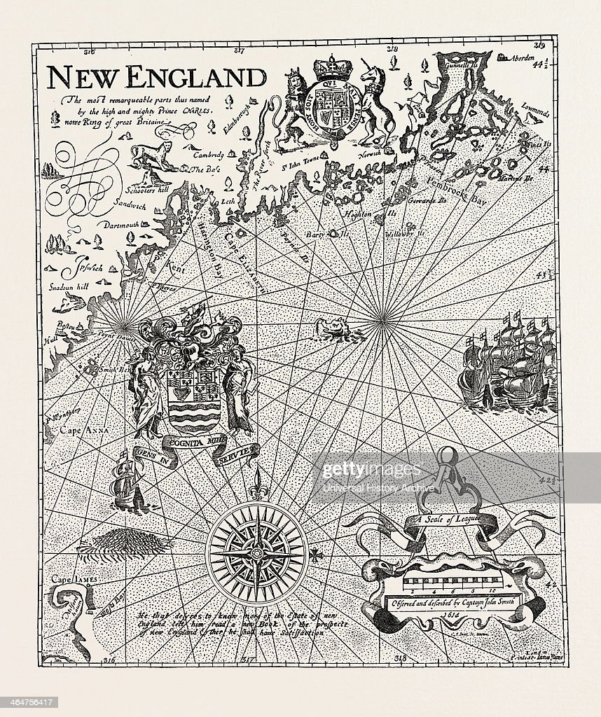 Part Of Captain J. Smith\'s Map Of New England, United States ...