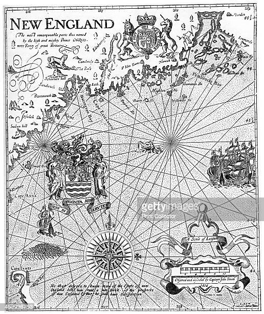 Part of Captain John Smith's map of New England 17th century A print from Cassell's History of the United States by Edmund Ollier Volume I Cassell...