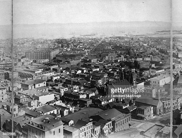 Part of Eadweard Muybridge's eleven-frame panorama of San Francisco, California.
