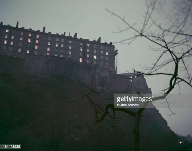 Part of Edinburgh Castle in Edinburgh, Scotland, circa 1950.