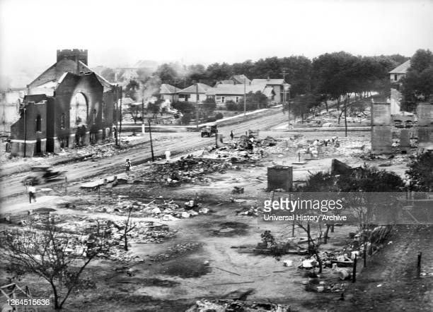 Part of Greenwood District burned in Race Riots, Tulsa, Oklahoma, USA,American National Red Cross Photograph Collection, June 1921.