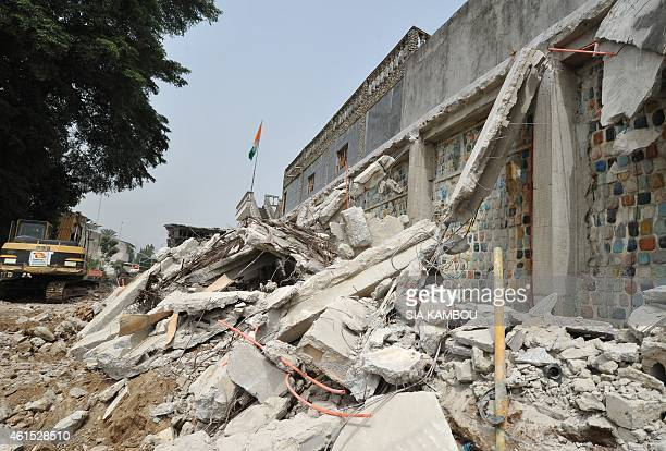 Part of Ivorian musician Alpha Blondy's house lies in ruins in Abidjan on January 14, 2015 after it was destroyed as part of a demolition campaign...