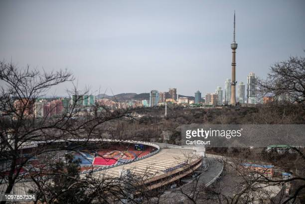 Part of Kim Ilsung Stadium and Pyongyang's skyline are seen from Moran Hill on February 08 2019 in Pyongyang North Korea US President Donald Trump...