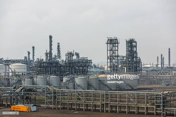 part of refinery complex - zhanjiang stock photos and pictures