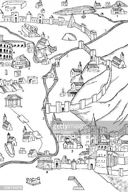 Part of Rome From a plan drawn c1475' Medieval map of the city of Rome Italy showing the walls and Roman Colosseum From A History of the AngloSaxons...