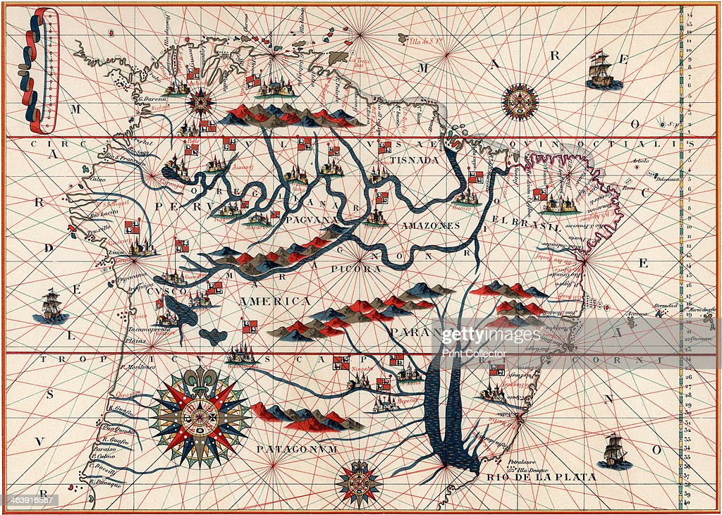 Part of South America, 1582. A Spanish map, showing the Amazon and ...
