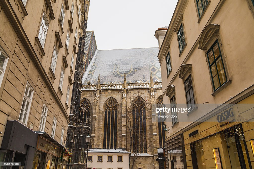 Part of St. Stephen's Cathedral (Stephansdom) from Churhausgasse : Stock Photo