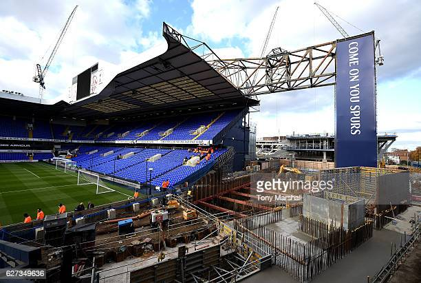 A part of stands are taken down to construct the new stadium prior to the Premier League match between Tottenham Hotspur and Swansea City at White...