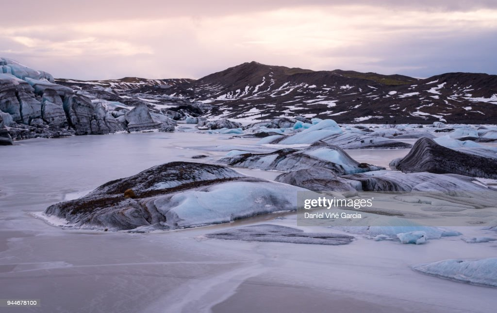 Part of Svinafellsjokull glacier in Vatnajokull national park, Iceland : Stock Photo
