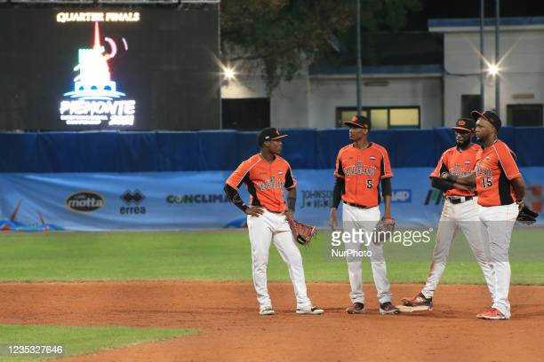Part of team Netherlands disputes about the match during a pause during the Baseball match Baseball European Championship 2021 - Quarter finals -...