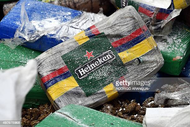 Part of the 10 tons of the cocaine and marijuana confiscated by the authorities is seen in Cerro Patacon a dump near Panama City on October 16 2015...