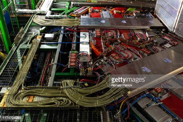 A part of the 14000 tone CMS detector is seen during the Open Days at the CERN particle physics research facility on September 14 2019 in Meyrin...
