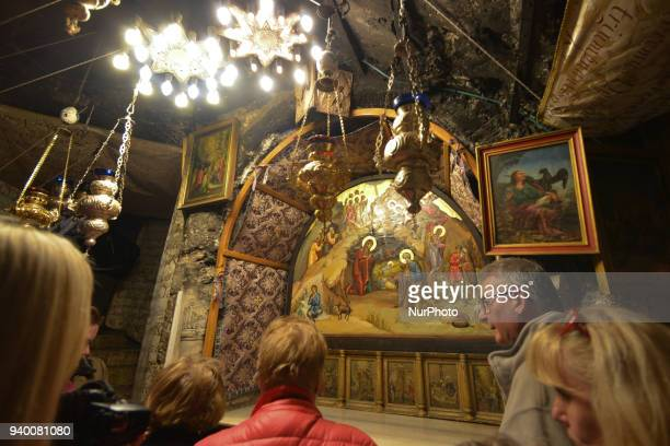 A part of the Altar of the Nativity beneath which is the star marking the spot where tradition says the Virgin Mary gave birth to Jesus inside...